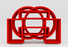 Color red bookshelf circle Stock Images