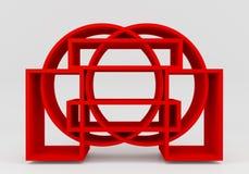 Color red bookshelf circle stock illustration