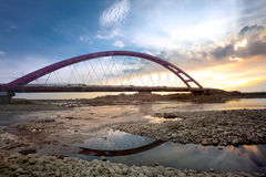 Color Red Bridge Sunset, Chuk Yuen, Taoyuan County Royalty Free Stock Images