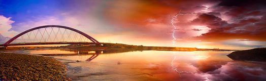 Color Red Bridge Sunset Royalty Free Stock Images