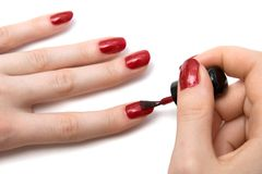 Color red nails close view Royalty Free Stock Photo