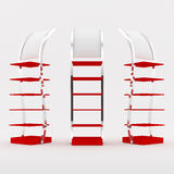 Color red shelf design. Color red shelves design on white background Stock Photos