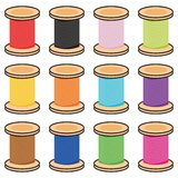 Color reels of thread. On white background Stock Photos