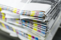 Color reference bars of printing paper. In printshop royalty free stock photos