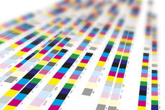 Color reference bars of printing process. In printshop stock image