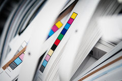 Color reference bars. Of printing process in printshop, cut off stock photography