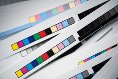 Color reference bars. Of printing process in printshop, cut off royalty free stock photos