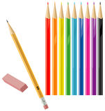 Color and regular pencils with eraser Royalty Free Stock Photo