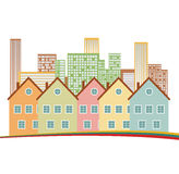 Color residential buildings logo. Royalty Free Stock Image