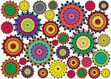 Color retro circle flowers Royalty Free Stock Photos