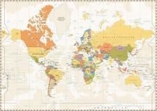 Color retro del mapa del mundo político con los lagos y los ríos stock de ilustración