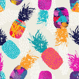 Color retro pineapple seamless pattern for summer Royalty Free Stock Image