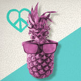 Color retro pineapple with sunglasses for summer Stock Images