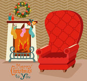 Color retro room with fireplace, and big soft chair for Christma Stock Image