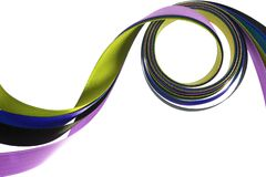Color ribbons fly on a white Royalty Free Stock Image