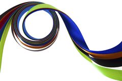 Color ribbons fly on a white Royalty Free Stock Images
