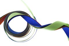 Color ribbons fly  on a white Stock Photography