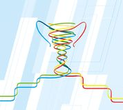 Color ribbons are intertwined in the shape of a sports cup vector illustration