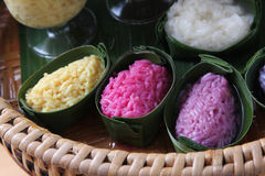 Color rice in joist. Color rice in banana leaf joist Royalty Free Stock Photography