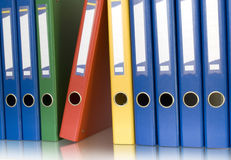 Color ring binders in row Royalty Free Stock Images