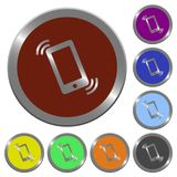 Color ringing phone buttons. Set of color glossy coin-like ringing phone buttons Royalty Free Stock Image