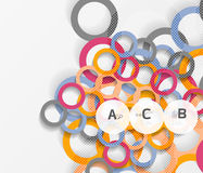 Color rings with shadows on gray abstract background. Vector template background for print workflow layout, diagram, number options or web design banner Vector Illustration