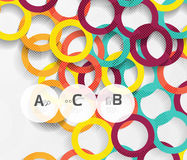 Color rings with shadows on gray abstract background. Vector template background for print workflow layout, diagram, number options or web design banner Stock Illustration
