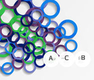 Color rings with shadows on gray abstract background. Vector template background for print workflow layout, diagram, number options or web design banner Royalty Free Stock Photos