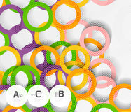 Color rings with shadows on gray abstract background. Vector template background for print workflow layout, diagram, number options or web design banner Royalty Free Stock Image