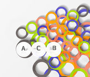Color rings with shadows on gray abstract background. Vector template background for print workflow layout, diagram, number options or web design banner Royalty Free Illustration