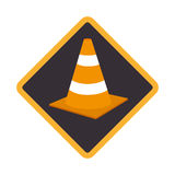 Color road sign with traffic cone with lines orange and white Stock Photo