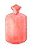 Color rojo caliente de la botella de agua o del bolso en aislado Imagen de archivo