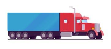 Color rojo del camión grande americano del aparejo con un cargo azul del remolque la entrega y la logística mantienen el estilo p Imagen de archivo libre de regalías