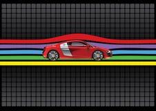 Color rojo del coche moderno aislado. ilustración Foto de archivo libre de regalías