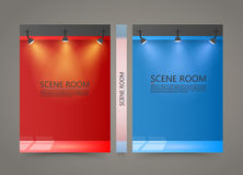 Color Room with a light source banner, Lighted Stage cover. A4 size paper, Vector illustration Stock Images