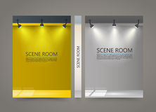 Color Room with a light source banner, Lighted Stage cover. A4 size paper, Vector illustration Stock Photo