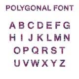 Color rosado púrpura del alfabeto de la fuente del polígono Foto de archivo