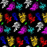 Color roses on a black background. Holiday mood. Pattern for wallpaper, packaging Royalty Free Stock Photo