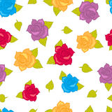 Color Roses with Green Leaves Seamless Pattern. Stock Images