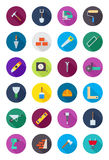 Color round construction icons set. Set of 24 color round construction icons Stock Image