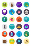 Color round economy icons set Stock Image