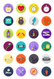 Color round healthy lifestyle icons set. Set of 24 color round healthy lifestyle icons Royalty Free Stock Image