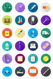 Color round medicine icons set. Set of 24 color round medicine icons Stock Photo