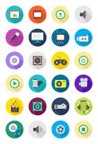 Color round multimedia icons set. Set of 24 color round multimedia icons Royalty Free Stock Image