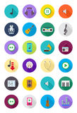Color round music icons set Royalty Free Stock Images