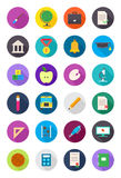Color round school icons set. Set of 24 color round school icons Royalty Free Stock Images