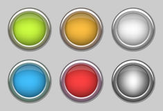 6 color round shapes buttons with metal ring. 6 different color round shapes buttons with silver color metal ring. buttons colors are green, orange, silver Royalty Free Stock Images