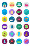 Color round shopping icons set. Set of 24 color round shopping icons Stock Photo