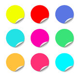 Color round stickers with curled edge vector template isolated on white background. Royalty Free Stock Image
