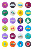 Color round transport icons set Royalty Free Stock Images